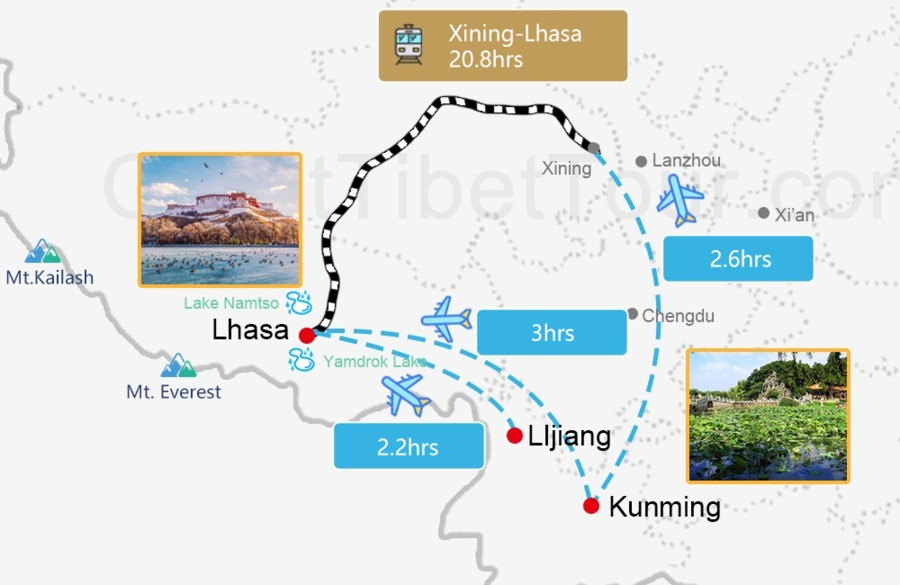 Travel map from Yunnan to Lhasa