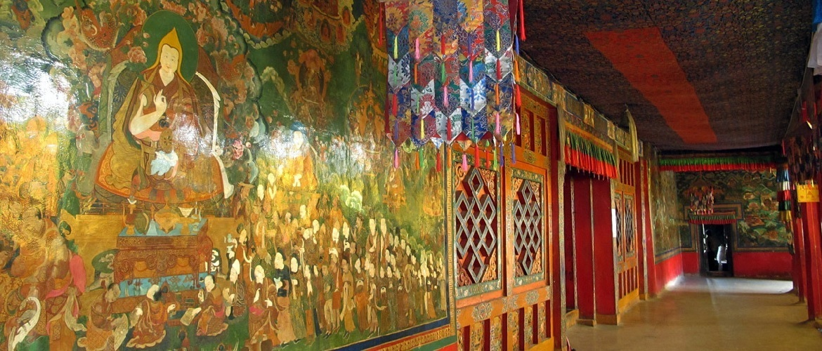 The mural on the second floor of the Utse Hall telling the biography of Master Padmasambhava.